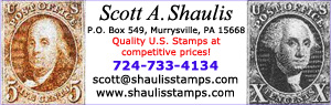 Scott A. Shaulis - sales of US stamps mint and used singles, back of book, plate blocks